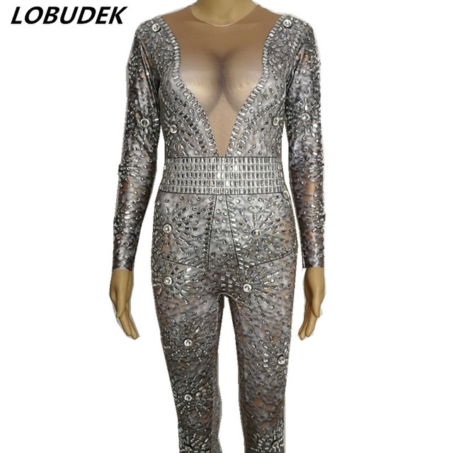 Women Sparkly  Rhinestones Jumpsuit Stage Outfits Sexy Stretch Leotard Rompers Dance Costume Bar Party Compere Star DJ DS show