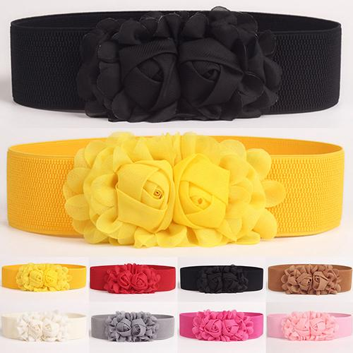 Women Girl Fashion Wide Stretch Elastic Waist Belt Solid Color Flower Waistband Gift