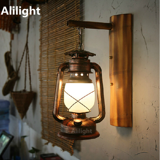 Vintage Hand Crafted Iron Lantern Led E27 Wall Lamp For