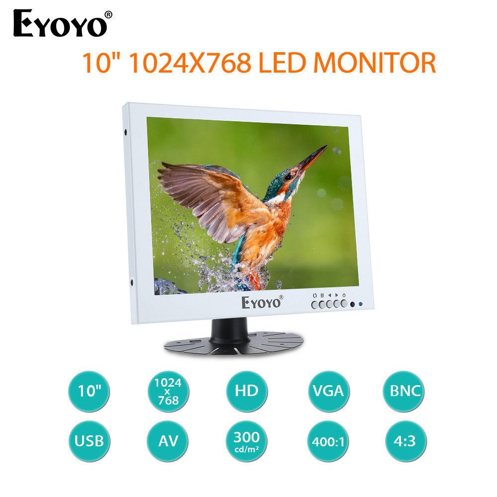 EYOYO 10 LED Monitor 1024X768 With BNC VGA AV Video Audio Input Built-in Dual Loudspeakers 75degree White For CCTV DVD DVR PC