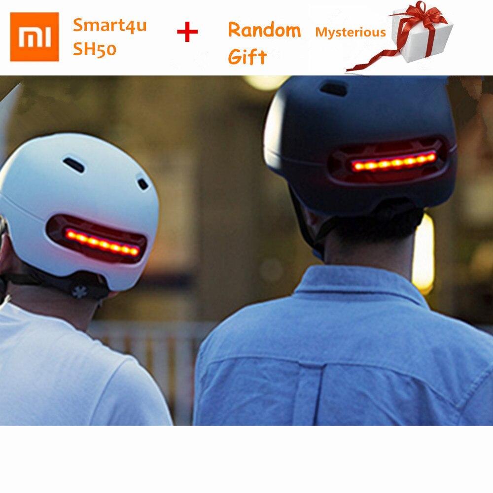 Xiaomi Smart4u Waterproof Cycling Bicycle Helmet Smart Flash Helmets Men Women Back Light Mountain Road Bike