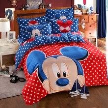 Disney Blauw Mickey Mouse Dekbedovertrek Set 3 Of 4 Stuks Dubbele Enkele Maat Beddengoed Set Voor Kinderen Verjaardagscadeau slaapkamer Decor