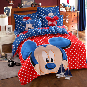 Image 1 - Disney Blue Mickey Mouse Duvet Cover Set 3 or 4 Pieces Double Single Size Bedding Set for Children Birthday Gift Bedroom Decor