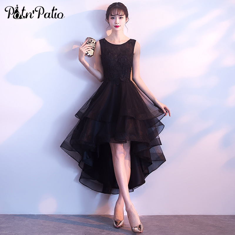 PotN'Patio High Low Black Prom Dresses 2018 Elegant Shoulder Straps Sleeveless Short Prom Dresses