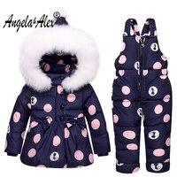 أنجيلا و اليكس الشتاء طفل الفتيات الملابس مجموعات الأطفال أسفل جاكيتات أطفال snowsuit دافئ طفل أسفل معطف + السراويل