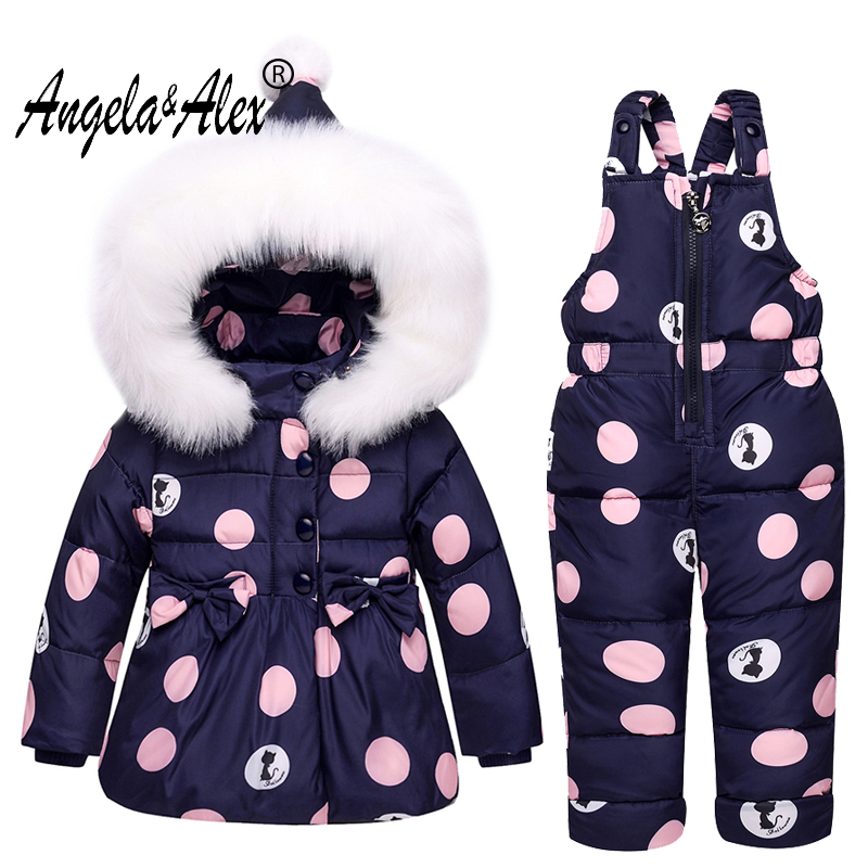 Angela&Alex Winter Baby Girls Clothing Sets Children Down Jackets Kids Snowsuit Warm Baby Ski Suit Down Outerwear Coat+Pants 2016 china factory russia winter parka padding jackets trousers overcoat clothing sets for boys ski suit reima baby snowsuit