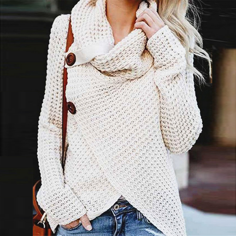 Button Sweater Tops Collar Knitting Long-Sleeve Plus-Size Woman Irregular Scarf