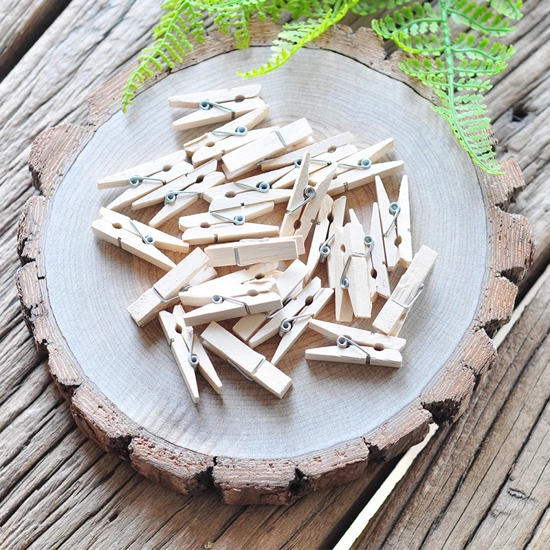 Customizable Mini Wood Clips 2 5 7 2cm Love Spring colorful Wood Clips for DTY Clothespin Craft Decor snack Clip Photo Clips Peg in Garment Clips from Home Garden