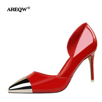 AREQW Brand Women Shoes High Heels Women Pumps 34-39 Sparkling Fashion Pumps 8 CM Stilettos Pointed Toe Wedding Shoes For Woman