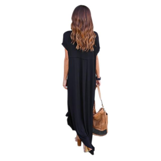 Long Dress For Women BOHO Beach Dresses Split Short Sleeve Roupa Vestidos 2017 Summer Bohemian Style Casual Dress Elegant L9223Z