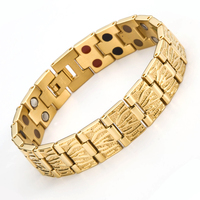 Fashion Double Men Health Germanium Infrared Negative Ion Magnetic Bracelet Stainless Steel Bracelets For Male