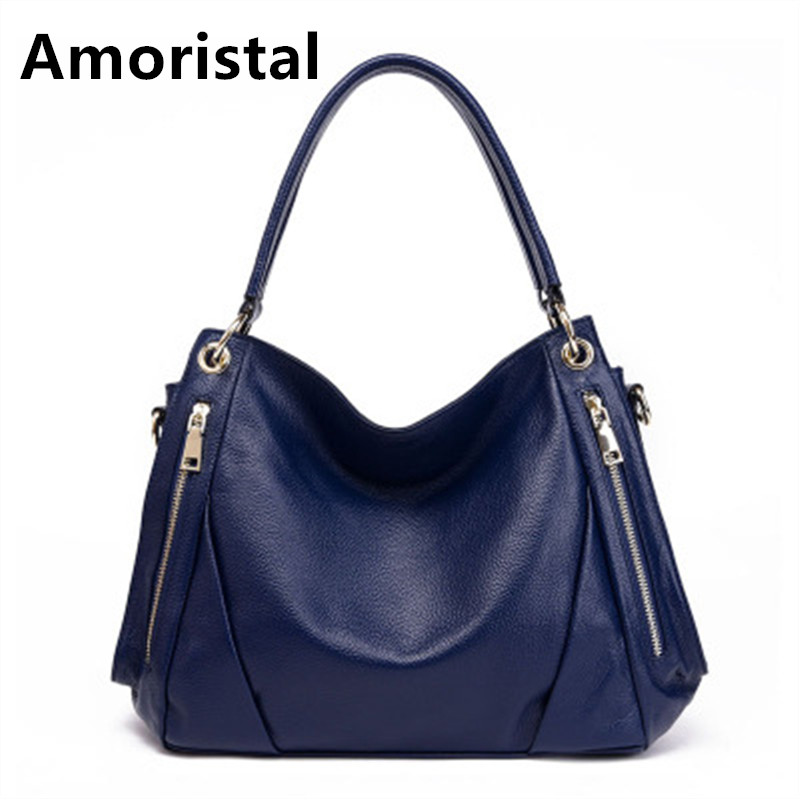 Women Shoulder Bag Fashion Blue Genuine Leather Handbag Ladies Simple Luxury Handbags Messenger Bag Casual Bags Sac Tote B073