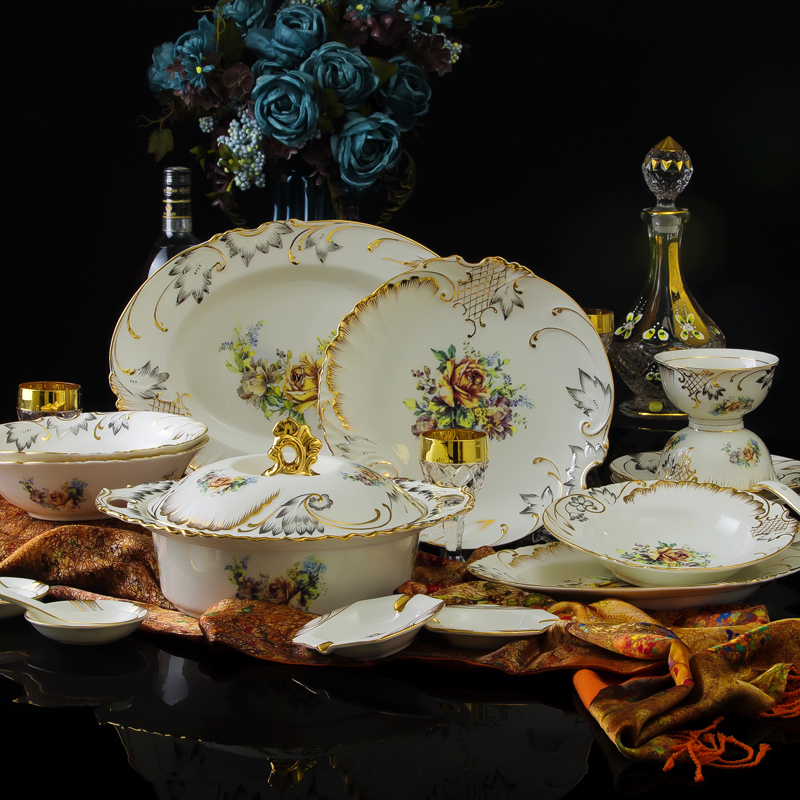 70 Pcs Fashion Royal 24K Gold Plated Fine Bone China Dinnerware Sets Handmade Luxury Relief Flower Ceramic Crockery Sets for 6-in Dinnerware Sets from Home ... & 70 Pcs Fashion Royal 24K Gold Plated Fine Bone China Dinnerware Sets ...