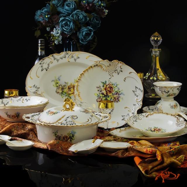 70 Pcs Fashion Royal 24K Gold Plated Fine Bone China Dinnerware Sets Handmade Luxury Relief Flower & 70 Pcs Fashion Royal 24K Gold Plated Fine Bone China Dinnerware Sets ...
