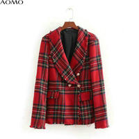 AOMO autumn winter women red plaid blazer tweed retro double breasted pockets 2018 ladies blazer brand female tops BE01