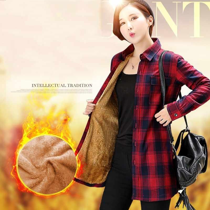 Wanita katun Kotak-kotak flanel kemeja Blusa Camisa Femininas musim dingin Penuh Tebal beludru blus Kemeja Mahasiswi Lagi HS1596
