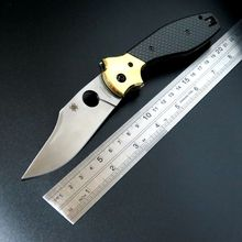 Carbon Fiber Handle Knife Hunting Using Tool C190 Ed Schempp Bowie Pocket Knife Plain Edge C190CFP 9Cr Steel Blade