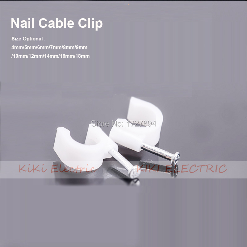 100pcs/lot Steel Nail Circle Clip Fix CAT5/CAT5E Network Wire/USB Printer Cable 7mm Circle cable clips Wall Insert Cord Clamp