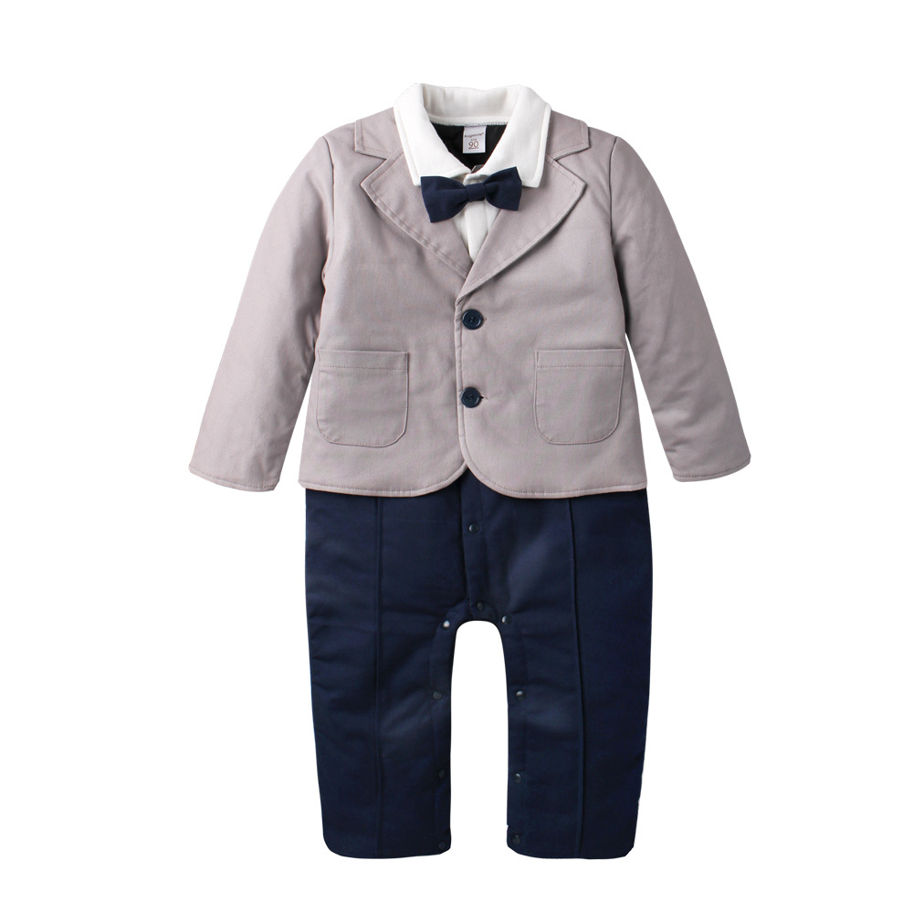 2017 New Fashion Gentleman clothes baby Winter infant toddler boy black tie cotton romper jumpsuit clothing