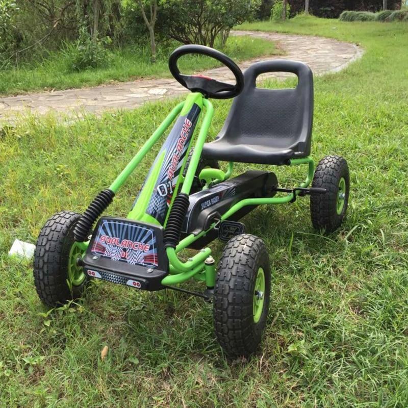 12 Inch Anak Karet Ban Air Roda Pedal Go Karts Rangka Baja Dengan Rem Tangan Maju Dan Mundur 2 Fungsi