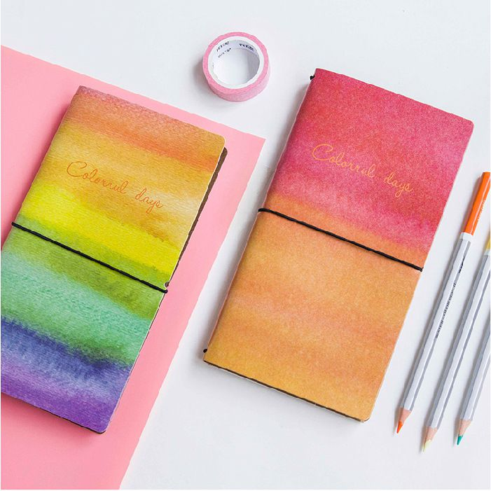 Rainbow Journal Book 20.2*11.5cm DIY Diary Scheduler Gift School Office Supplies Free Shipping the lovely colorful world and flamingo fashion diy a5 journal pu leather 216p 2017 students office supplies free shipping