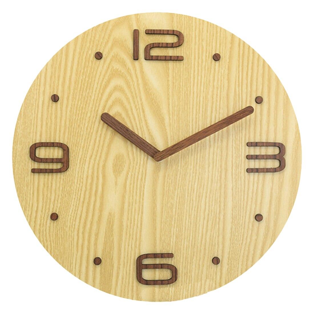 30*30Cm 3D Soild Wooden Brief Wall Clock Modern Silent Clocks Figure Silent Wall Clocks Livingroom Home Decor Quartz Timer