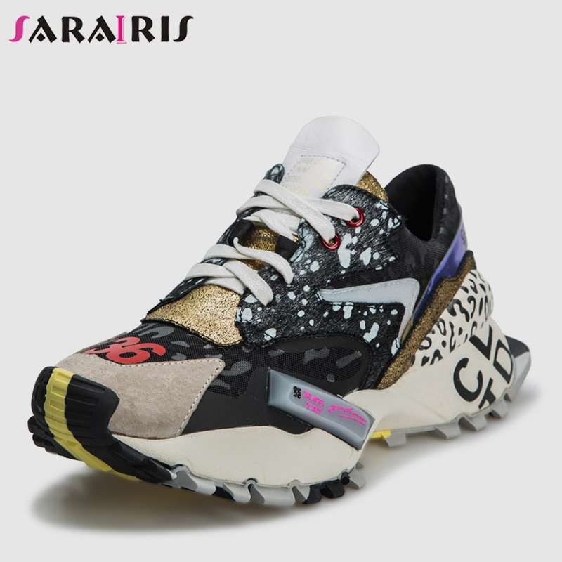 SARAIRIS 2019 Spring New Ins Hot Patchwork Sneakers Women Split Leather Girl Fashion Platform Shoes Women