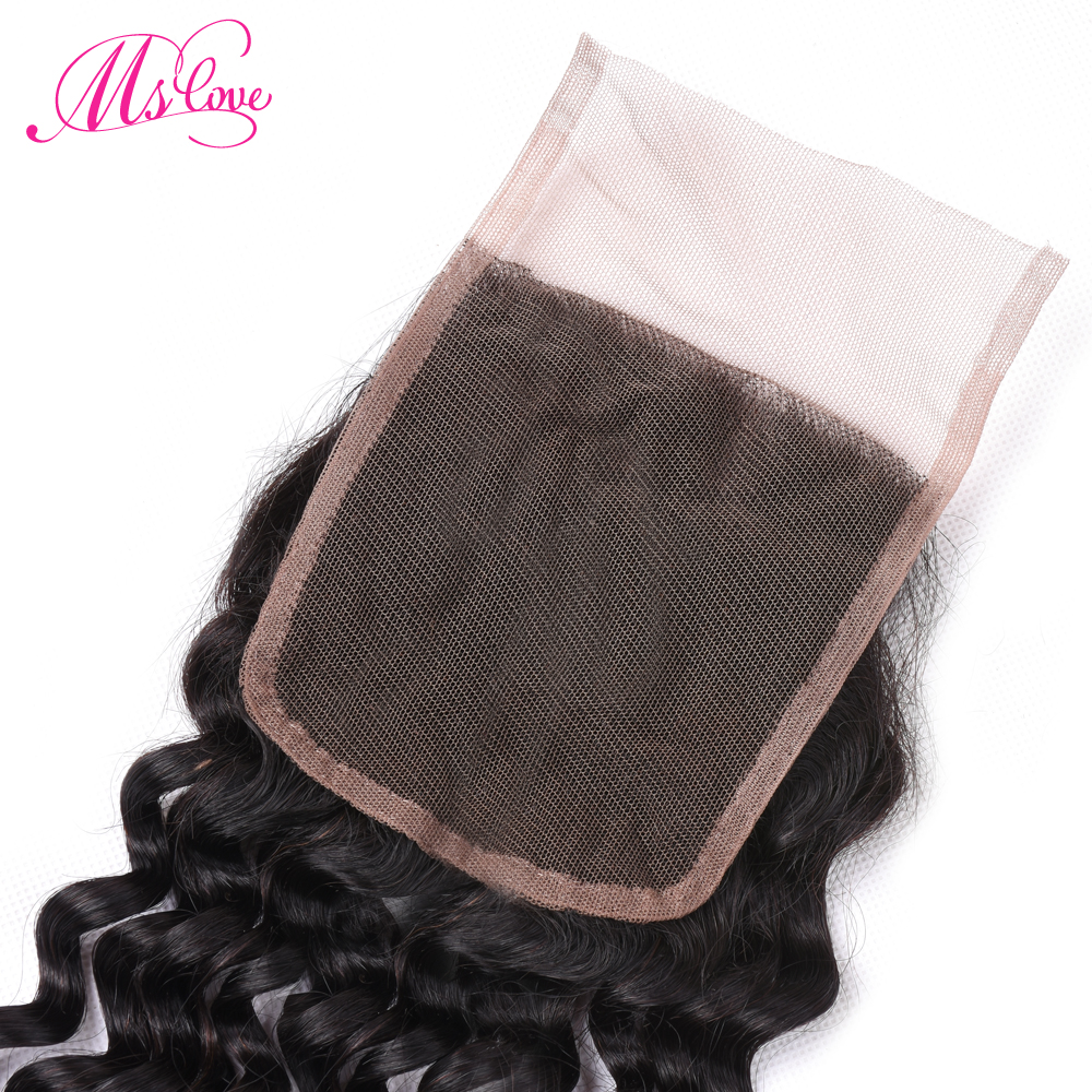 Ms Love Peruvian Deep Wave Weave Human Hair Lace Closure 4x4 Free/middle/three Part Natural Color Non-remy Hair Free Shipping