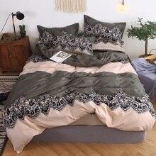 Mylb Комплект постельного белья синий евро покрывало роскошный пододеяльник двуспальная кровать льняные простыни Королева Король взрослое постельное белье
