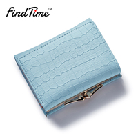 FINDTIME Fashion Women Wallet Small Three Fold PU Leather Coin Wallet Mini Size Purse Brand Designed
