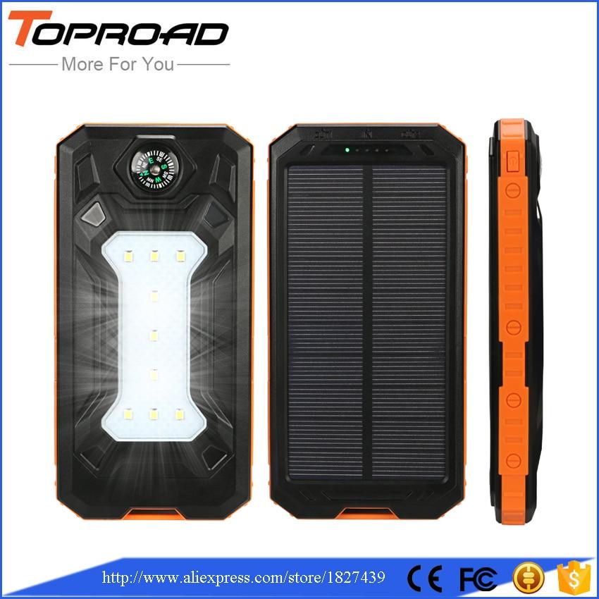 imágenes para Banco de la Energía 10000 mah Solar Dual USB LED Powebank Pover Acampar Batería Externa del Banco de Energía de Reserva Del Cargador Solar Para El Teléfono Móvil SOS