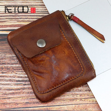 AETOO Vintage coin purse handmade cowhide key bag mini change card multi-functional zipper storage for men and women