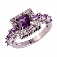New Fashion Square Cut Purple White Cubic Ziconia Silver color Ring Size 6 7 8 9 10 Vogue Elegant Jewelry Gift For Women Wedding