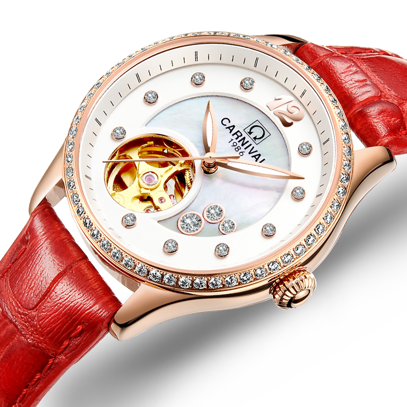 Women Watches Carnival Luxury Brand Watch Women Automatic Mechanical Wrist Watch Sapphire Waterproof relogio feminino C0682 watches women luxury brand guanqin genuine leather strap waterproof mechanical wrist watch for ladies relogio feminino