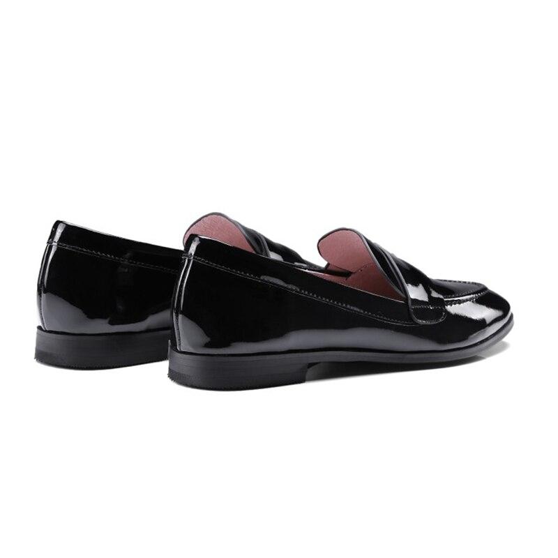 Red black Style Qualité En Bout Wine Verni Chaussures Haute Rond Populaire Stylesowner Couleur Offre Femelle Spéciale Simples Plat Plates Angleterre Cuir Noir Rx51g8wqf