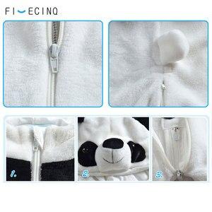 Image 5 - Panda Kigurumis Baby Kinder Kinder Cartoon Tier Cosplay Kostüm Warme Weiche Flanell Phantasie Winter Onesie Niedliche Pyjama Körper Anzug