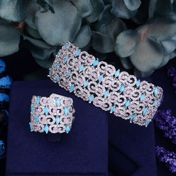Luxury AAA cubic zirconia micro pave setting rose flower shaped big bangle rings set.womens accessaries