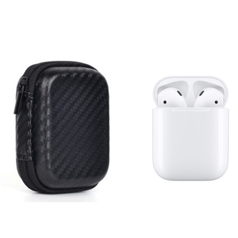 Case for AirPods EVA Shock Proof Portable Protective Cover Bag with Carabiner Keychain for Apple AirPods Earphones