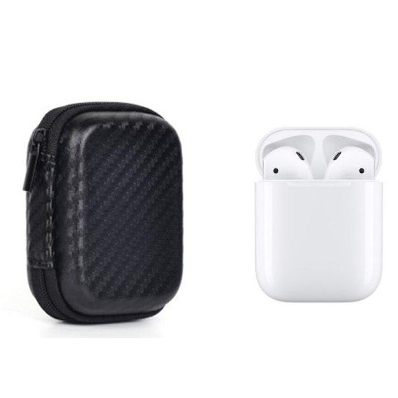Para airpods Eva a prueba de golpes cubierta protectora Portátil Bolsa con mosquetón llavero para Apple airpods Auriculares