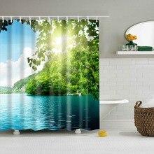 Водостойкая полиэфирная ткань 3D занавеска для ванны лес для ванной занавеска зеленое растение занавеска для пляжного душа длинная 180*200 см