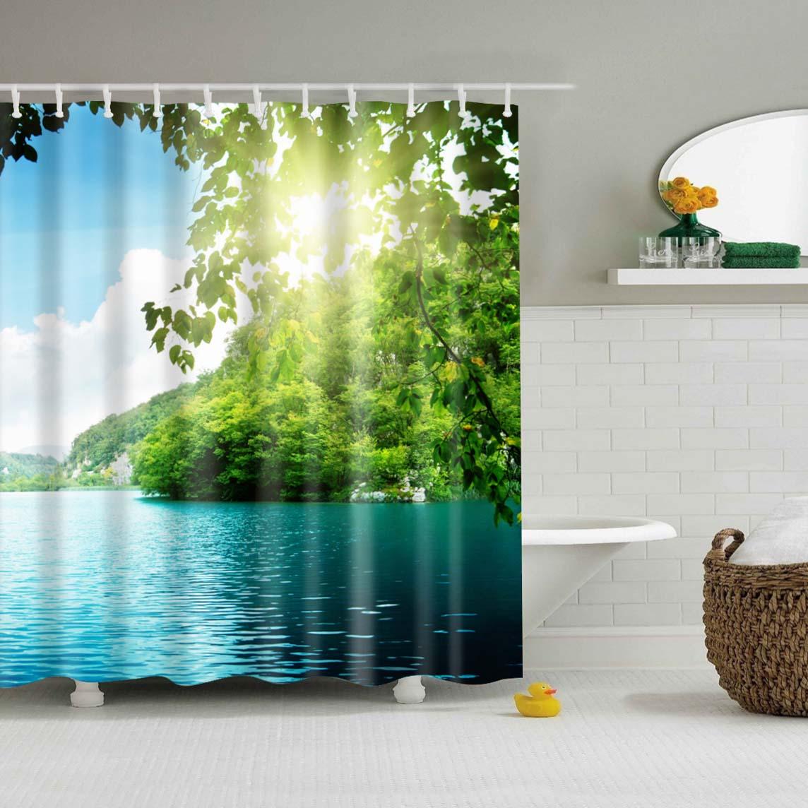 Wasserdicht Polyester stoff 3D Bad vorhang wald für Bad vorhang Grüne Pflanze strand Dusche vorhang Lange 180*200cm