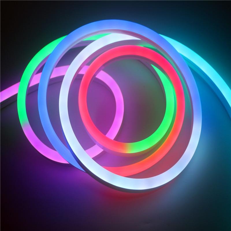 12 В WS2811 пиксель rgb полоса света неоновая Светодиодная лента Гибкая Водонепроницаемая IP67 ПВХ трубка Неоновая Светодиодная лента WS2812 умная полоса освещения - 6