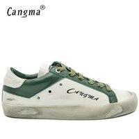 CANGMA Minimalist Italian Classic Footwear Mens Stylish White Green Breathable Genuine Leather Flats Male Leisure Shoes