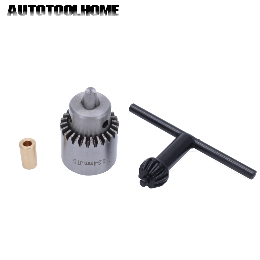 AUTOTOOLHOME Mini Electric Drill Chuck 0.3-4mm JTO Taper Mounted Lathe For 2.3 3.17 Motor Shaft Connect Rod PCB Wood Press Tool autotoolhome mini dc 12v electric motor for wood pcb hand drill press drilling 0 5 3mm twist bits and jto chucks bracket stand