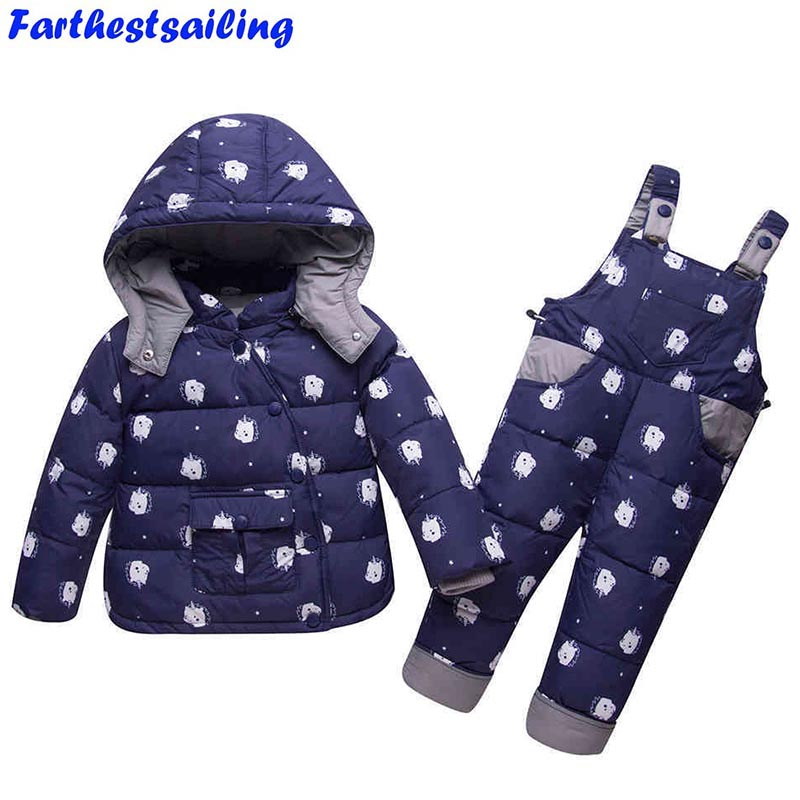 Winter Children's Snow Suit Baby Girls Boys Duck Down Jacket Coat+Jumpsuit 2pcs Kids Hooded Outerwear Parkas Pants Clothing Set