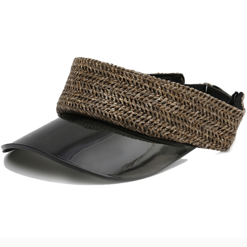HT2422 New Women Fashion Visor Cap Summer Anti-UV Plastic Wide Brim Sun Ladies Beach Straw Hat Female PVC