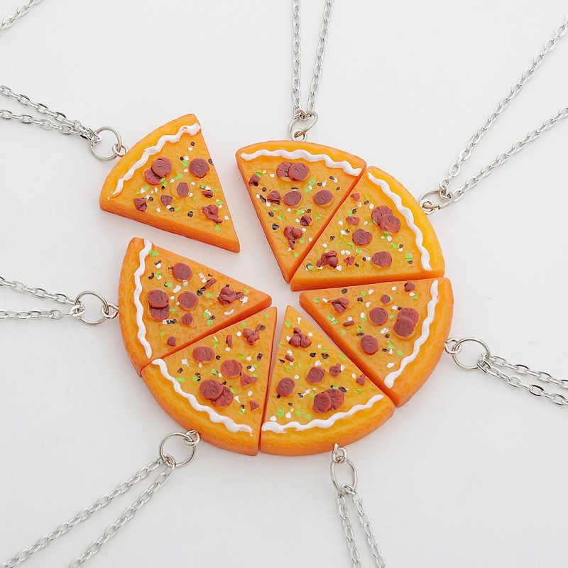 7 PCS In 1 Set Pizza Necklace Best Friends Forever Necklace or Keychian For Friendship Best Gifts for Friends