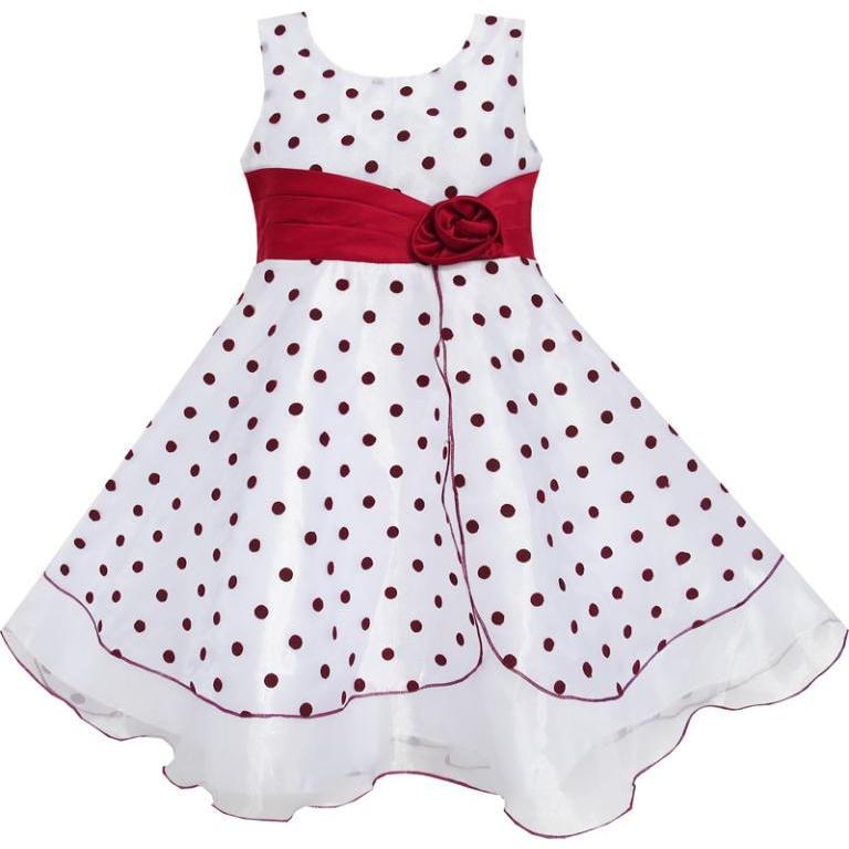 Robe De Fille De Fleur Vin Rouge Dot Tulle Partie Pageant Unique - Vêtements pour enfants