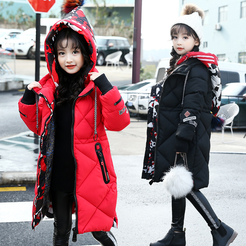Kids Girls Parkas Camouflage Hooded Cotton-padded Winter Coat Thicken Warm Children Down Jacket Long Overcoat Casual Outerwear winter jacket female parkas hooded fur collar long down cotton jacket thicken warm cotton padded women coat plus size 3xl k450