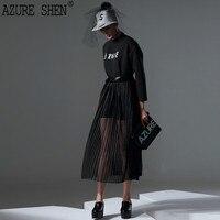 [AZURESHEN] Spring 2018 Customization Loose Patchwork Mesh Women Dress Fashion Perspective Pullover Sexy Pleated Vestidos AZ550